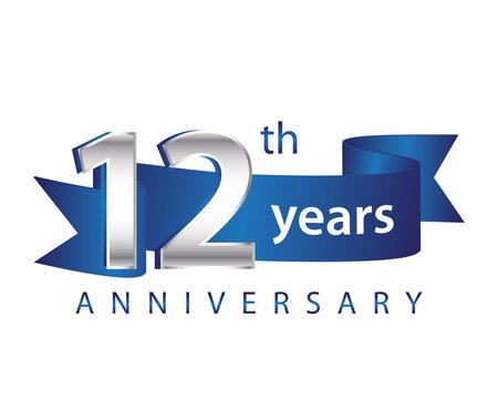 12 Years Anniversary Logo Blue Ribbon