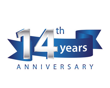 14 Years Anniversary Logo Blue Ribbon