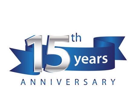 15 Years Anniversary Logo Blue Ribbon