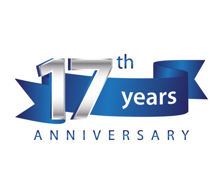 17 Years Anniversary Logo Blue Ribbon