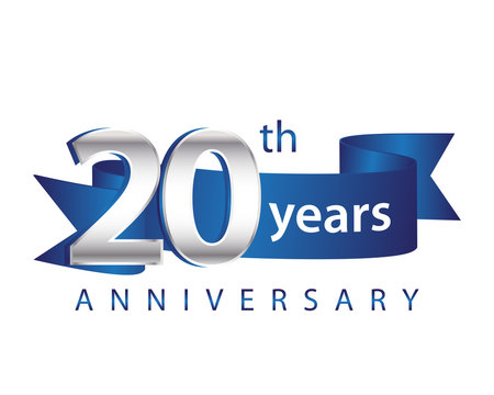 20 Years Anniversary Logo Blue Ribbon