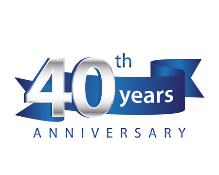 40 Years Anniversary Logo Blue Ribbon