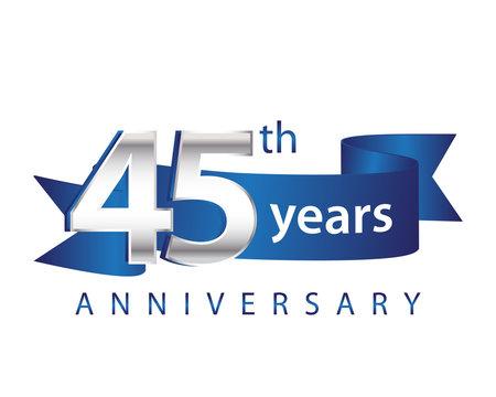 45 Years Anniversary Logo Blue Ribbon