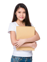 Young girl hold with file board