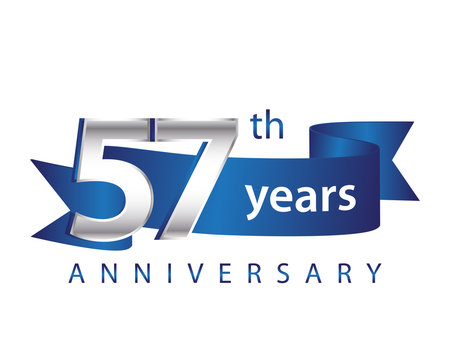 57 Years Anniversary Logo Blue Ribbon
