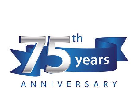 75 Years Anniversary Logo Blue Ribbon