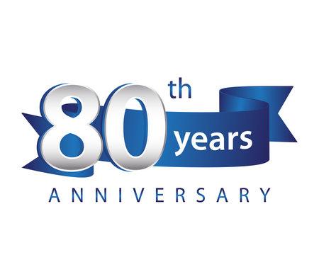 80 Years Anniversary Logo Blue Ribbon
