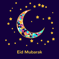 Muslim community festival, Eid Mubarak celebration greeting card decorated with golden stars and moon on background. Ramadan kareem.