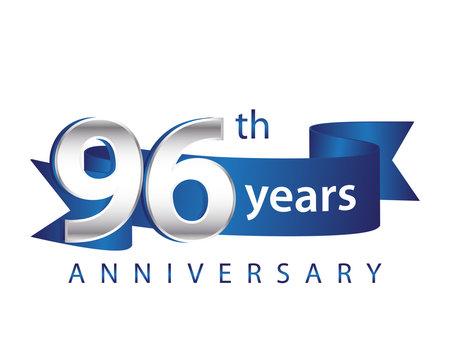 96 Years Anniversary Logo Blue Ribbon