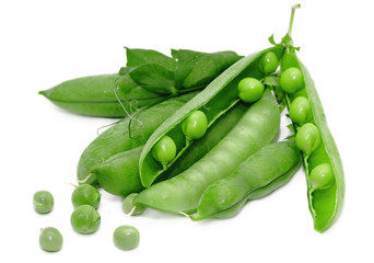 Peas with leaves isolated on white