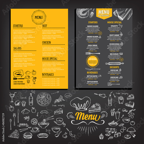 Restaurant Cafe Menu Template Design Food Flyer Stock Image And