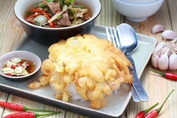 Thai style minced pork omelet