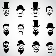 Vintage, retro gentlemen. Collection of various faces. Vector art.