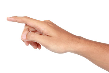 Forefinger pressing imaginary button, hand gesturing, isolated i