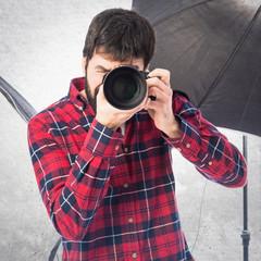 Photographer in his studio