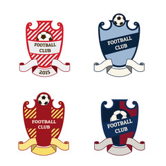 Set of football soccer crests logos with ribbons and soccer ball. EPS 10 vector