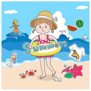 女の子と海と夏