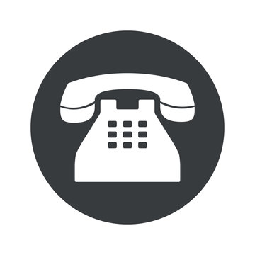 Monochrome round phone icon