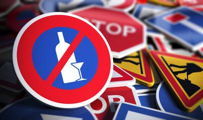 Interdiction de boire de l'alcool avant de conduire.