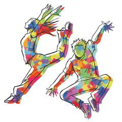 ジャズダンサーのスケッチ風(カラフルシルエット)