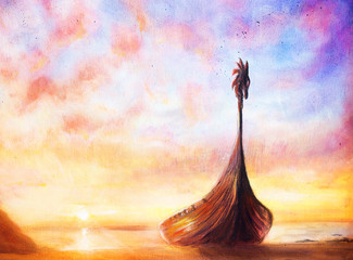 Viking Boat on the beach, painting on canvas, Boat with wood
