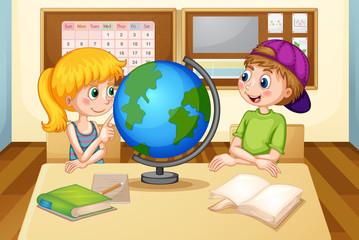 Children and globe