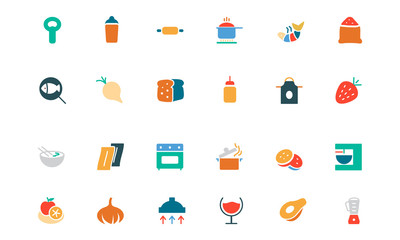 Food and Drinks Vector Colored Icons 8