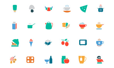 Food and Drinks Vector Colored Icons 9