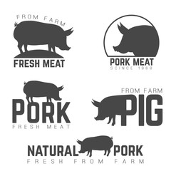 Set of pork emblems, logotypes and labels isolated black on