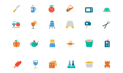 Food and Drinks Vector Colored Icons 17