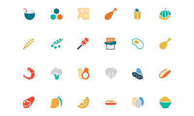 Food and Drinks Vector Colored Icons 18