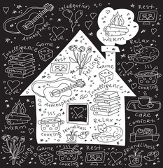 Home and family symbol icons Icons and signs about happy family domestic life. Doodles  black and white illustration.
