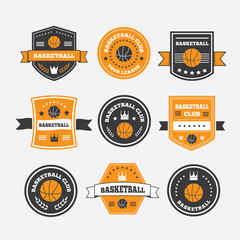 Basketball set vintage emblems