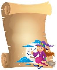 Parchment with cute witch theme 1
