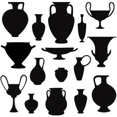 Fototapeta Vase set. Pot Pottery Vases greek Home Interior Greece Decoration. Vector icon collection. obraz