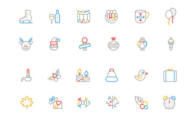 Christmas Colored Outline Icons 4
