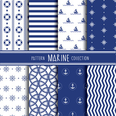 Marine pattern collection. Vector illustration.