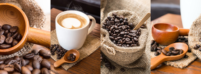 Collage photos of coffee