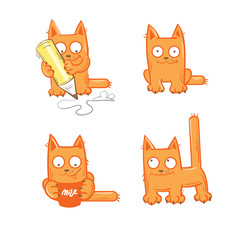 Set with four cartoon kittens, milk and a pencil.