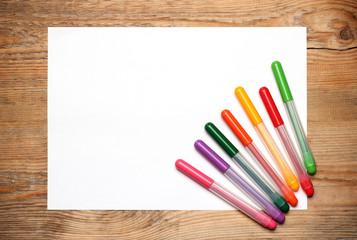 Felt tip pens on a paper