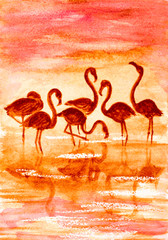 flamingo in sunset, watercolor vector illustration