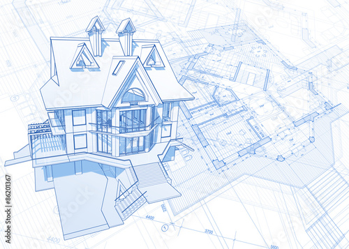 architecture blueprint house draw plans vector illustration - How To Draw A Blueprint For A House
