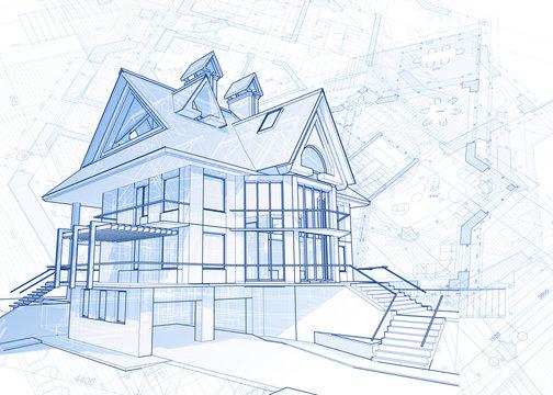 architecture blueprint - house draw & plans / vector illustration