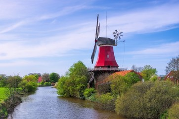 Foto op Canvas Molens Greetsiel Rote Muehle - Greetsiel red windmill 02