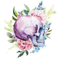 Watercolor skull with flowers