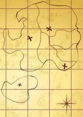 Vector map of treasure island