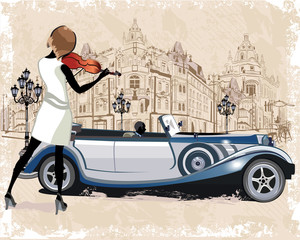 Vintage background with a retro car and musicians, old town views.