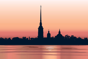 St. Petersburg landmark, Russia, Russian sunset cityscape silhouette background.