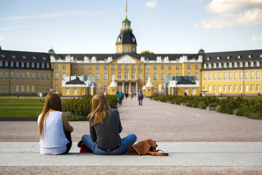 Karlsruhe Schloss, young women in foreground