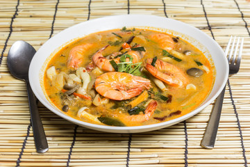 Tom Yum Kung , Spicy Soup with Shrimp, Thailand food
